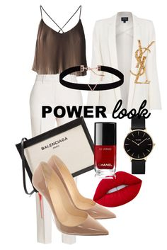 """Power look"" by irma-suharto on Polyvore featuring Jil Sander, Balenciaga, Armani Jeans, Christian Louboutin, Yves Saint Laurent, CLUSE, Astrid & Miyu and Chanel"