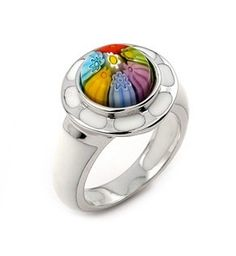 #Sterling #Silver .925 Rhodium Plated #Murano Class Millacreli Multi-Color Flower Ring Alan K. #Designs