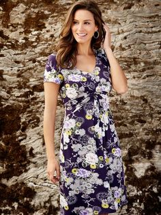 a2f54bb6f1f2 Floral Print Day Dress Purple Dress