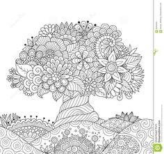 Arbol Abstracto Hermoso Para Elemento De Diseno Y Adultos Coloring Book Pagina Stock Vector