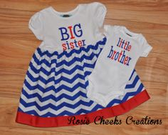 Little Brother/Big Sister Set - T-shirt Dress/Bodysuit Set - Blue and White Chevrons - Baby Gift - Coming Home Outfit $52.00