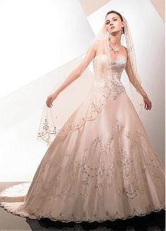 Fabulous Satin A-line Sweetheart Neckline Wedding Dress With Embroidery and Beads