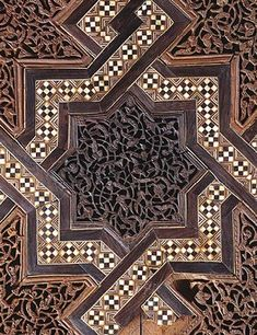 Detail carved panels and marquetry strapwork. Kutubiyaa Mosque, Marrakesh