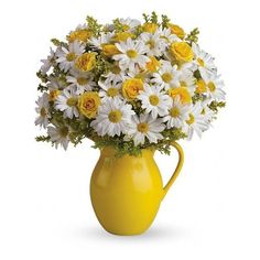 Teleflora's Sunny Day Pitcher of Daisies Flowers ($40) ❤ liked on Polyvore