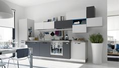 White-and-grey-steel-kitchen-and-dining-room