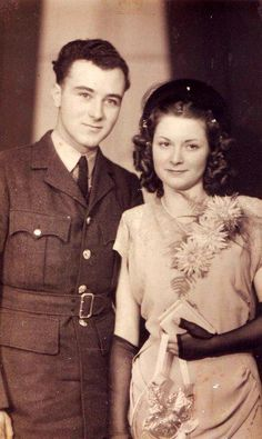 This adorable 18-year old couple were photographed here on their wedding day - Christmas Day, 1948. #1940s #wedding
