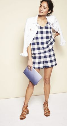Gingham is topping the trend charts this spring. The key to keeping a matching set fashionably understated? Layer with classic neutral pieces like a white denim jacket, tan gladiator sandals and a two-tone ombre clutch.