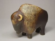 'European Bison' - by Gustavsberg | one of a series of animals threatened by extinctionproduced in 1978 for the World Wildlife Fundand the Swedish dept store Nordiska Kompaniet