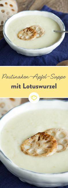 Pastinake und Apfel? Eine unschlagbare Kombination! Nussig-würzig trifft auf süß-säuerlich. Als knuspriges Extra: gebackene Lotuswurzeln.