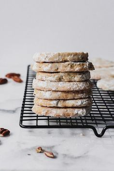 Your new favorite Christmas cookie - a maple pecan meltaway! This shortbread is sweetened with maple syrup and flavored with pecans - simple and melt in your mouth good! Biscuit Cookies, Sugar Cookies, Chocolate Chip Cookies, Shortbread Cookies, Real Food Recipes, Cookie Recipes, Dessert Recipes, Desserts, Yummy Food