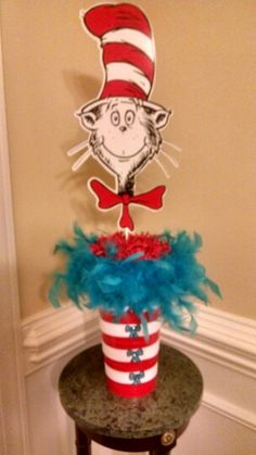 Cat in the hat centerpiece cat in the hat birthday party вып Dr Seuss Birthday Party, Twin First Birthday, 1st Boy Birthday, First Birthday Parties, Birthday Ideas, Dr Seuss Decorations, Christmas Decorations, Dr Suess Centerpieces, Dr Seuss Party Ideas