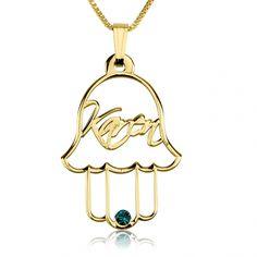 hamsa name gold with swarovski birthstone