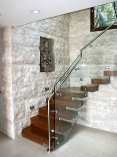 Trends you need to know Stone Wall Interior Designs Trends you need to know Stone Wall Interior Designs Stair Railing Design, Home Stairs Design, Interior Stairs, Home Interior Design, House Design, Railings, Glass Stairs, Floating Stairs, Stairwell Wall