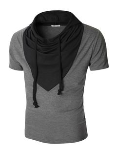 Mens Short Sleeve T-shirt with Unique Colorblocked Hood (KMTTS08)
