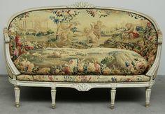 Canapé d'époque Louis XVI Estampillé, Hugo Mesureur, Proantic