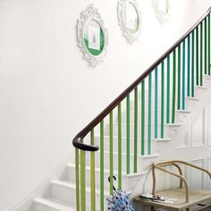 ombre bannister - very pretty with the white stairs!