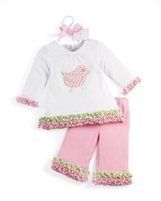 $37.99 Baby Baby girls 2 piece outfit set includes long sleeve chick appliqué tunic with seersucker ruffle accents on the wrists and hem line. Outfit includes matching soft cotton flare pants with seersucker ruffles. Arrives on a coordinating hanger trimmed with bow and gift tag.