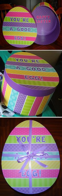 """You're A Good Egg! - Easter Care Package. This time I wanted to change up the way I sent a care package to my daughter in college. Instead of decorating the box I ship the items in, I found a cute egg-shaped box at Hobby Lobby. Glued """"You're A Good Egg!"""" on the lid and """"Happy Easter"""" on the inside. Placed Easter grass in the box then filled it like I normally would an Easter basket. Tied it closed with pretty ribbon. Found a box to ship it in and sent it on it's way. It was well received!"""