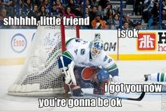 Kevin Bieksa's goal of the season counted as the game-winner as the Canucks slip past the Oilers Top line with 6 points. Hockey Goalie, Hockey Players, Ice Hockey, Funny Hockey Memes, Hockey Sayings, Funny Memes, Hilarious, Hockey Gifts, Hockey Stuff