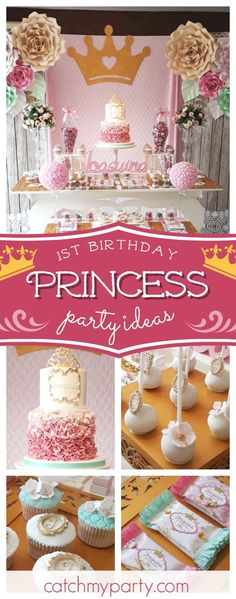 Don't miss this gorgeous Princess themed shabby chic 1st birthday party! The ruffled pink birthday cake ia amazing!! See more party ideas and share yours at CatchMyParty.com #catchmyparty #partyideas #princess #1stbirthdayparty