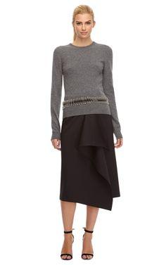 Waterfall-Ruffled Neoprene Midi Skirt by Kenzo - Moda Operandi