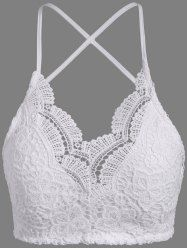 Padded Lace Bra Top - WHITE ONE SIZE