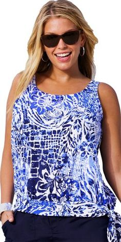 Maroubra Plus Size Blouson Tankini Top Women\'s Swimsuit - Blue