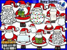 This set of graphics features whimsical Santas busy with Christmas activities! Black and white versions are included! $ Whimsy Workshop Teaching