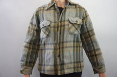 Vintage 60s 70s Plaid Flannel Shirt Jacket by SycamoreVintage