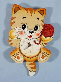 Bartolucci Pendulum Yarn Ball Cat Clock
