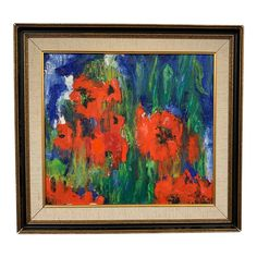 "1969 Abstract Oil Painting ""Red Poppy"" by Kalnavarna Bolshevik Revolution, London Square, The Bolsheviks, Oil Painting Abstract, Ballet Dancers, Red Poppies, Art Studios, Cool Things To Make, Poppy"