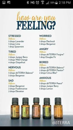 How Are You Feeling Diffuser Blends - angry - sad - stressed - worried - bored - tired - anxious -