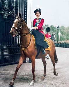 The Evening Standard-Princess Elizabeth takes the salute for her father at Trooping of the Colour 1950