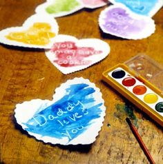 Wax Resist Valentines.  Cut out your valentines, use a white crayon to write a message on it, then have your child paint with water colors to reveal the note.