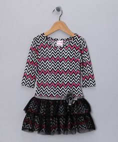 Take a look at this Black & Pink Zigzag Dress - Infant, Toddler & Girls by Nannette on #zulily today!