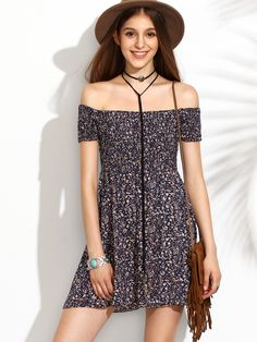 Shop Calico Print Bardot Neckline Flare Dress online. SheIn offers Calico Print Bardot Neckline Flare Dress & more to fit your fashionable needs.
