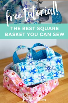 The Best Square Basket You Can Sew - free tutorial — SewCanShe Sewing Blogs, Sewing Tutorials, Sewing Projects, Bag Tutorials, Sewing Tips, Sewing Ideas, Tutorial Sewing, Quilting Projects, Sewing Crafts