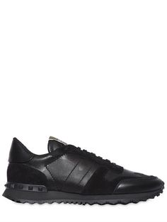 VALENTINO Rockrunner Camo Leather Sneakers, Black. #valentino #shoes #sneakers