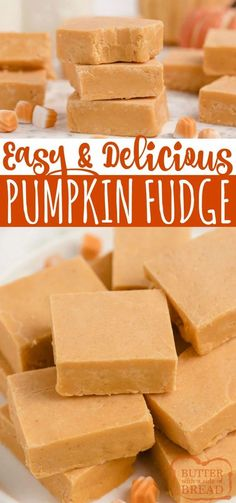 Easy Pumpkin Fudge made with pumpkin, cinnamon chips, marshmallow creme and a few other basic ingredients. One of our favorite fall candy recipes! Easy Candy Recipes, Fall Dessert Recipes, Fudge Recipes, Sweet Desserts, Fruit Recipes, Pumpkin Recipes, Easy Desserts, Fall Recipes, Sweet Recipes