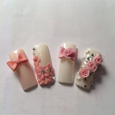 Rose Nails by Ttthunails from Nail Art Gallery 3d Nail Art, 3d Acrylic Nails, 3d Nails, 3d Flower Nails, Rose Nails, Pink Nails, Gorgeous Nails, Pretty Nails, Bow Nail Designs