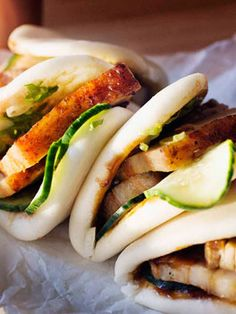 Australian Gourmet Traveller recipe for Momofuku& pork buns by David Chang. Bo Bun, Noodle Bar, Food Porn, Good Food, Yummy Food, Asian Recipes, Ethnic Recipes, Hawaiian Recipes, Steamed Buns