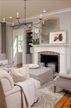 """Modern Farmhouse Living Room Ideas: Wall paint color is Sherwin Williams SW 7016 Mindful Gray.Trim color is """"Sherwin Williams SW 6385 Dover White"""". Living Room Colors, My Living Room, Home And Living, Living Spaces, Bedroom Colors, Coastal Living, Style At Home, Design Salon, Luxury Interior Design"""
