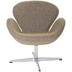 The Swan Style Chair combines design and technology, with sinuous curves, and swiveling bases. Overall Product Dimensions: 31.5HX28.3WX27.2D The chair is made using a fiberglass frame covered with a w