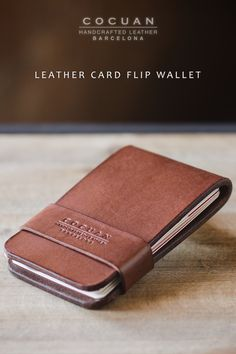 Introducing Cocuan Minimal Leather Card Filp Wallet in dark brown. Perfect fit for 2-8 credits cards and folded cash. This card wallet is made of full grain natural vegetable tanned leather. It's tanned in Igualada (Barcelona – Spain) is a place with an old tradition with tanneries. Natural variations in the leather surface are the evidence of real hide. Holes are made withindividual holes punched by hand. All edges are finished by hand too.