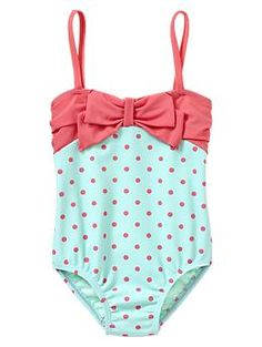 Too bad I've already bought two new suits for my little one for the summer - this is TOOO cute! Dot bow one-piece | Gap