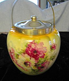 Antique Transferware Roses Biscuit Jar