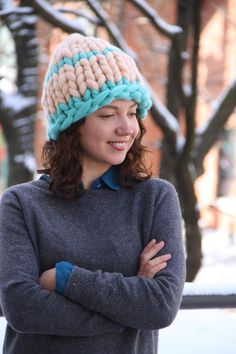 29bed9f46 14 Best Cute Chunky Hats images | Pom pom hat, Merino wool ...