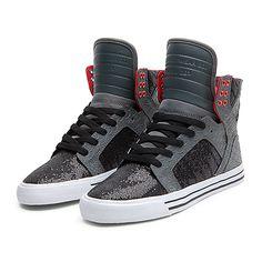 SUPRA WMNS SKYTOP Shoe   GREY / BLACK / RED - WHITE   Official SUPRA Footwear Site