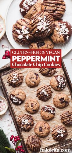 Vegan and gluten free peppermint chocolate chip cookies. They make perfect Christmas cookies and taste so scrumptious, especially with the extra chocolate drizzle. #glutenfree #vegan