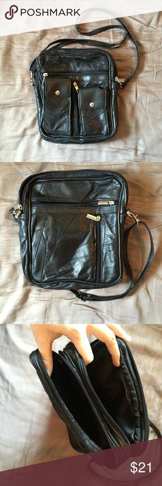 "Vintage Patchwork Leather cross body Awesome 80s-vintage patchwork leather cross body bag. Excellent used condition. Black leather with silver accents and adjustable cross body strap. 9""x10.5""x2"" Bags Crossbody Bags"